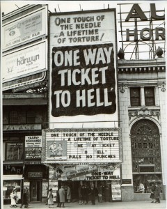 One Way Ticket to Hell playing at a Grindhouse Cinema in the 80's